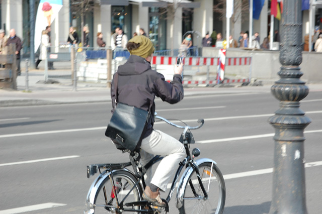 texting while riding a bicycle