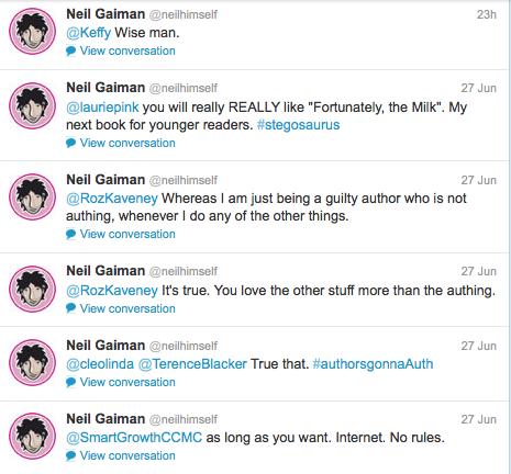 Neil Gaiman's Twitter feed